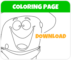 Duke the Cuke cucumber coloring page image